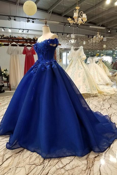 Off-the-shoulder Prom dresses, Royal Blue Evening Dresses, 3D Floral Lace prom dress