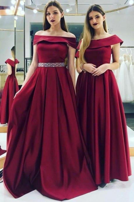 Off Shoulder Burgundy Evening Dress Beaded Belt wine red party dress