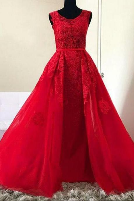 Red Prom Dress,lace Evening Dress, Dance Dresses, Graduation School Party Gown,Long Evening Dress