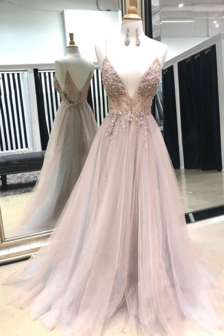 Pink ball gowns v neck evening dress ,tulle lace beads long prom dress, pink evening dress ,appliques formal dress
