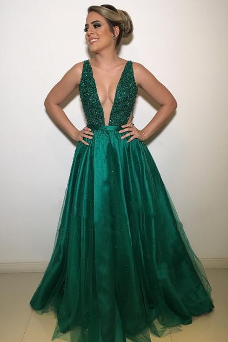 Gorgeous Dark Green Beaded Rhinestone Prom Dress,Deep V-Neck Open Back Prom Dresses,Tulle Backless Formal Dress
