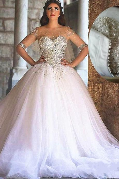 Bling Bling Wedding Dress, Ball Gown Wedding Dresses , White Wedding Dresses , Long Sleeve Wedding Dresses ,Sexy Wedding Dresses