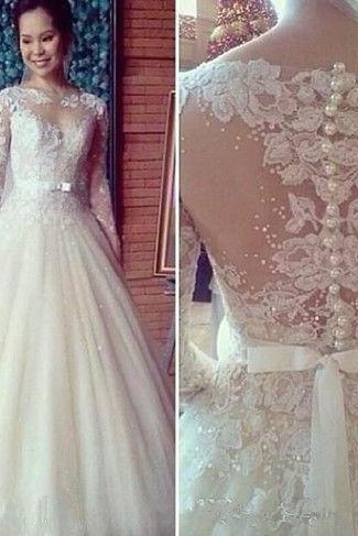 New Sweetheart Sexy White/Ivory A-Line Lace Long Sleeves Bridal Gown Wedding Dress Custom Size&Color