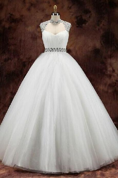 Tulle Wedding Dress, Cheap Wedding Dress, Wedding Dresses , High Neck Wedding Dress, Tulle Wedding Gowns, White Wedding Dress, Custom Wedding Dress