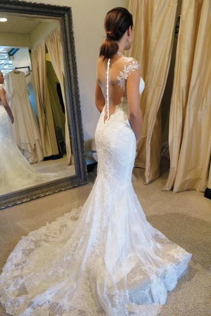 White wedding dresses lace wedding gowns mermaid Perspective halter wedding dress sequin bridal gowns short sleeve wedding gowns 2016 custom made wedding gowns