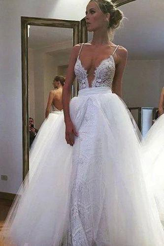 Charming Spaghetti Straps Wedding Dress ,Deep V Neck Wedding Dress ,Lace Wedding Dress,Wedding Dress for Bridal ,Wedding Ball Gown,Bridal Ball Gown ,Wedding Dress Plus Size ,Wedding Dress Costume