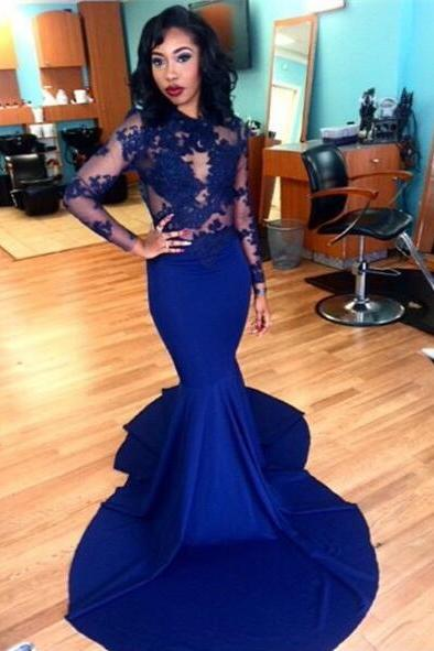 formal dress, Royal Blue formal dress, Long Sleeve formal dress, Mermaid formal Gown, Sexy Evening dress, Court Train Evening dress, Lace Evening dress, Party Dress, Custom Evening dress,girls party dress, sexy prom Dresses,homecoming dress , 2016 cheap long sexy prom dress .