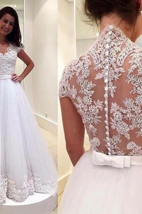 lace sexy Wedding Dresses,A-line Wedding Dresses,Wedding Dress,2016 Wedding Dresses,Appliques Wedding Dress ,White Wedding Dress,Wedding Dress V-neck,Wedding Dresses Plus Size,Wedding Dresses Custom,See Through Wedding Dress,custom Wedding dresses