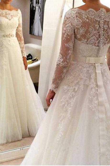 Wedding Dresses, Ivory Wedding Dresses , Vintage Wedding Dresses ,Ball Gown Wedding Dresses ,Scoop Wedding Dresses ,Long Sleeve Wedding Dresses , Lace Wedding Gown,custom wedding dresses