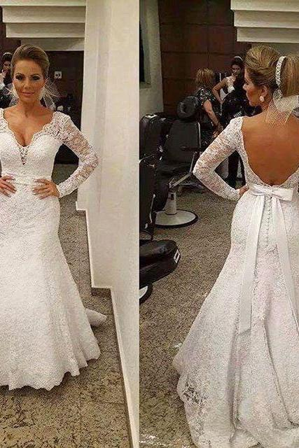 V-neck Wedding Dress,Wedding Dresses with belt,Backless Bridal Gowns,Lace Wedding Dresses,Wedding Dress Mermaid,Wedding Dresses,Wedding Dresses 2016,Wedding Dress Plus Size,Wedding Dress for Bride 2016,Wedding Dresses with sleeves,Long Sleeves Bridal GownsCustom Made