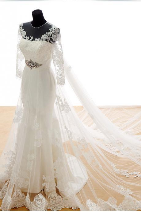 Long Train wedding dresses, Applique wedding dresses,Bridal Gown Wedding Dress,3/4 sleeve wedding dresses,Bridal Gown Wedding Dress, A Line Wedding Dresses , White Wedding Dreses, Lace Wedding Gowns, Sexy Backless Wedding Dresses, Long Bridal Dreses , V -Neck Wedding Dresses , Appliques Bridal Dresses,custom wedding dresses