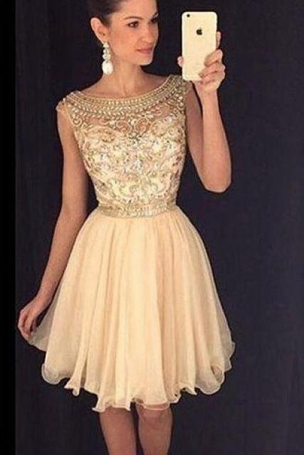 Two Piece Homecoming Dress with Crystal Beads Embellishment, 2016 Appliques short Homecoming Dresses, Short/Mini Homecoming Dresses, A-Line Graduation Dresses, New Arrival Homecoming Dresses,Dresses For Wedding,girls party dress, sexy prom Dresses,homecoming dress , 2016 cheap short sexy prom dress,custom size