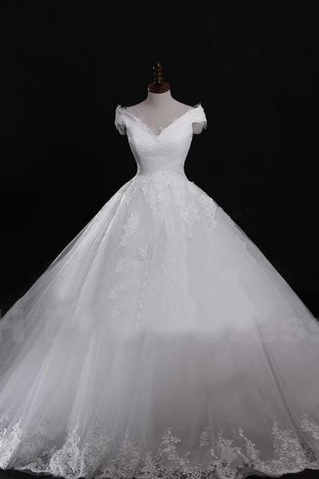 Wedding Dress Bride Dress White Bridal Dresses Ivory Wedding Dress Sexy Wedding Dress Bridal Dress Wedding Gown Wedding Dresses Custom Wedding Dress Sexy V-neck Long Train Lace Up Bridal Wedding Dress Long White Lace Real Sample Wedding Dress Ball Gown Custom Made,custom wedding dresses