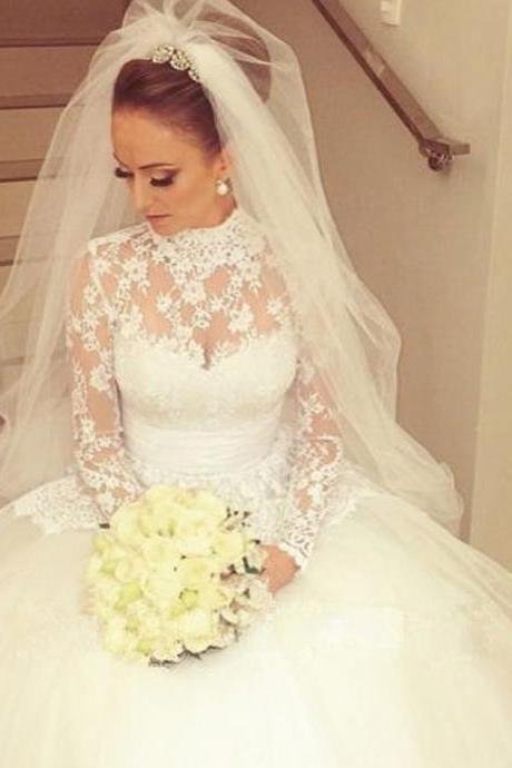 Excellent High Neck Ball Gown Lace Wedding Dresses ,With Long Sleeve wedding dresses, Backless Wedding, Custom Backless Ivory Wedding Dresses, Long Backless wedding Dresses, Bridal Dresses, wedding Dresses, Formal Dresses,Sexy Sheer Pleats Country Style wedding dresses ,Lace Bridal Gown wedding dresses, Bridal Gownswedding dresses,custom wedding dresses