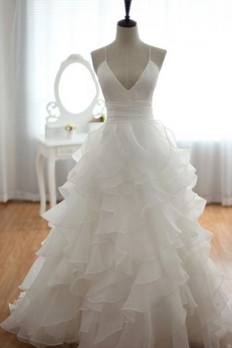 Tulle Plunge V Spaghetti Straps Floor Length Ruffled Wedding Dress Featuring Criss-Cross Open Back