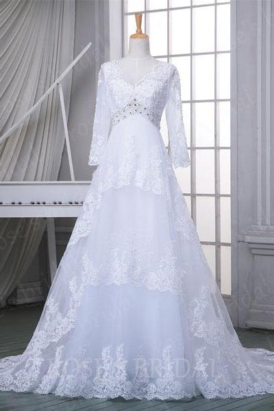 Custom Long Sleeve Lace Wedding Dress, White Wedding Dresses, Vintage Wedding Dress, V Neck Wedding Dress, Cheap Wedding Gowns, mermaid Bridal Dresses, Dress For Weddings,Wedding Gowns,Bridal Dresses, Bridal Wedding Gown,Bridal Dress,custom wedding dresses