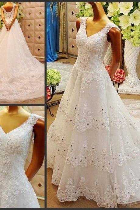 Luxury beads wedding dresses, Crystals Layer Lace Wedding Dresses V-neck Bridal Gowns, ball gown wedding dresses,sexy Wedding Dresses,Lace Bridal Wedding Gown,Bridal Dress,custom wedding dresses