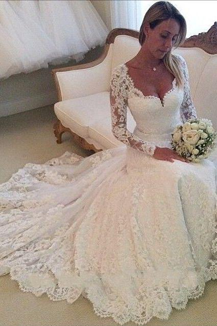 Elegant Ball Gown Wedding Dress, Lace Long sleeve Wedding Dress, Wedding Dresses with Long Illusion Sleeves,Illusion Wedding Gowns,A-line Wedding Dresses,Tulle Wedding Dresses,Backless Wedding Dresses,Wedding Dress 2016,Bridal Dress,custom wedding dresses