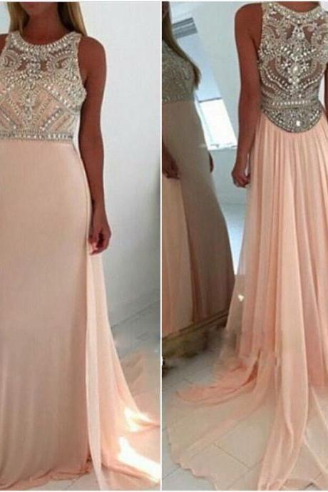 Prom Dresses,Beaded Prom Dresses,Prom Dresses 2016,A-line Prom Dresses,Crystals Prom Dresses,Pink Chiffon Prom Dresses,Long Chiffon Prom Dresses,Beaded Party Dresses,Prom Dresses Long,Sexy Prom Dresses,girls party dress, sexy prom Dresses,homecoming dress , 2016 cheap long sexy prom dress .
