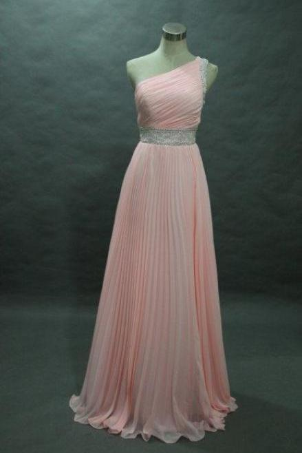 sexy One shoulder long prom dresses ,pink chiffon prom dresses , one shoulder evening dress ,chiffon long evening dress , formal dress , wedding and party dress , 2016 long prom dress long ,cheap long evening dress ,girls party dress, sexy prom Dresses,homecoming dress , 2016 cheap long sexy prom dress .