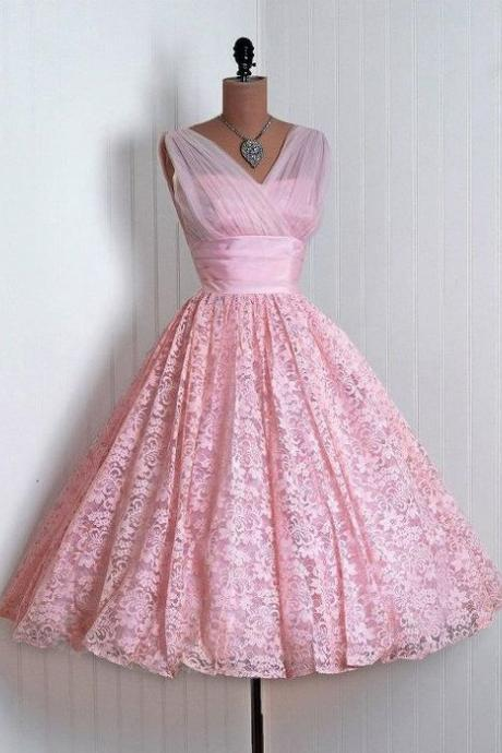 SEXY V-NECK PINK Vintage Homecoming Dress,Vintage Homecoming Dress,Homecoming Dress,Lace Homecoming Dress,Pink Homecoming Dress,Vintage Homecoming Dresses, Lace Homecoming Dresses,girls party dress, sexy prom Dresses,homecoming dress , 2016 cheap short sexy prom dress .