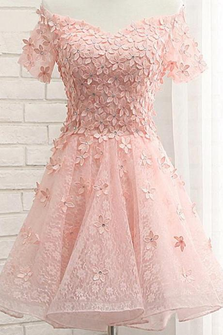 sexy Pink Lace Homecoming Dresses, Off Shoulder Homecoming Dresses, Appliques Homecoming Dresses, Homecoming Dresses, Organza Homecoming Dresses, Short Prom Dresses, Cheap Homecoming Dresses, Juniors Homecoming Dresses,girls party dress, sexy prom Dresses,homecoming dress , 2016 cheap SHORT sexy prom dress .