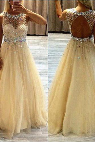 Backless Prom Dresses,Champagne Prom Dress,Backless Prom Gown,Open Back Prom Dresses,Open Backs Evening Gowns,Beaded Formal Gown,Sparkle Prom Gowns For Teens Girls,girls party dress, sexy prom Dresses,homecoming dress , 2016 cheap long sexy prom dress .