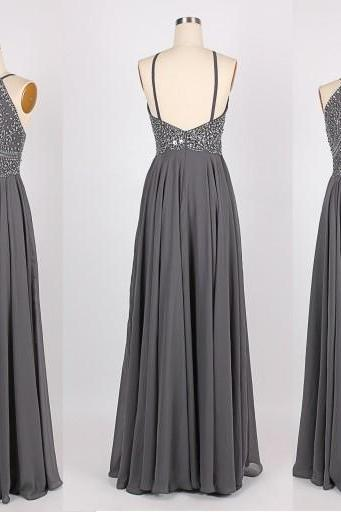 Grey Halter Neck Beaded Embellished Long Chiffon Prom Dress with Backless Detailing