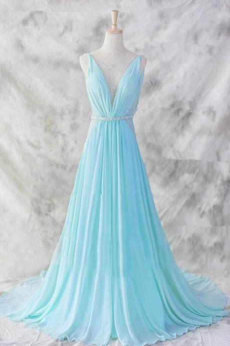 Pretty Baby Blue Chiffon Floor Length V-neckline Prom Gown 2017, Baby Blue Evening Dresses 2016, Blue Formal Dresses, Formal Dresses,girls party dress, sexy prom Dresses,homecoming dress , 2016 cheap long sexy prom dress .