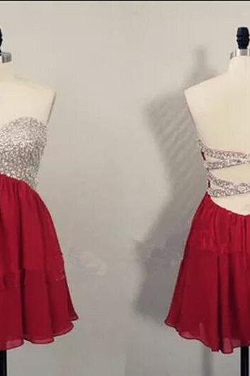 Cute Short Burgundy Beaded Knee Length Cross Back homecoming Dresses 2016, Homecoming Dresses 2016, Graduation Dresses 2016,girls party dress, sexy prom Dresses,homecoming dress , 2016 cheap short sexy prom dress .