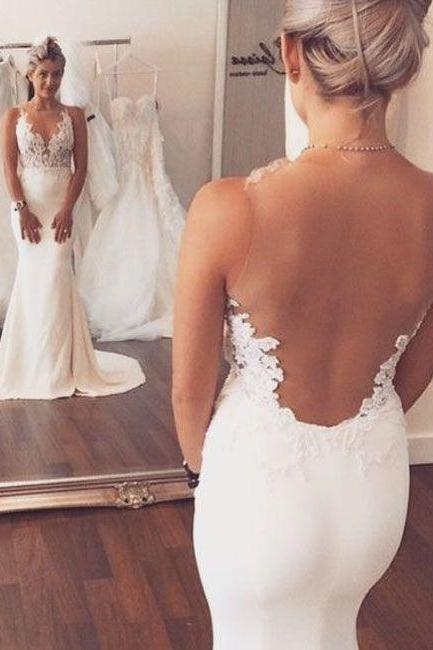 Sexy White Wedding Dress,Fashion V-neck Lace Appliques Sheer Back Mermaid Wedding Dress,Wedding Dresses 2016,Mermaid Wedding Dresses,Backless Wedding Dresses,,custom wedding dresses