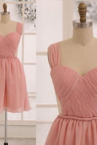 Grace Blush Pink Chiffon Short Bridesmaid dress See Through Backless Dress, Cute Bridesmaid Dresses, Lovely Evening Dresses, Evening Gown, Sexy Prom Dresses, chiffon Prom Dresses 2017, Formal Gown,Simple Prom Dresses, prom dresses