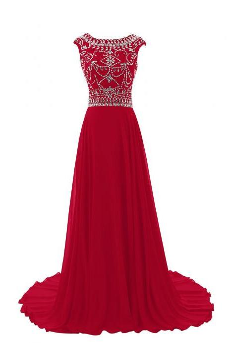 Beaded Embellished Red Bateau Neck Cap Sleeves Floor Length A-Line Formal Dress Featuring Open Back, Prom Dress