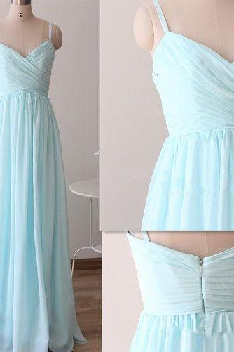 Pretty Light Blue Straps Long chiffon Prom Dresses, Light Blue Bridesmaid Dresses, Long formal Dresses,Evening Dresses, New Handmade Enhancing Ball Gown Sweetheart Asymmetrical Beaded Prom Dresses, Party Dresses,Elegant Homecoming Dresses,Short Party Dresses