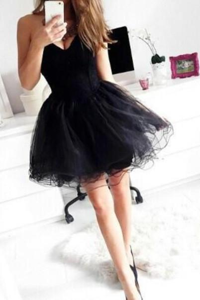 Pretty Black Short Homecoming Dresses,Sweetheart Simple Cocktail Dresses,Cheap Graduation Dresses,Cute Shor Homecoming Dresses For Teens, New Handmade Enhancing Ball Gown Sweetheart Asymmetrical Beaded Prom Dresses, Party Dresses,Elegant Homecoming Dresses,Short Party Dresses