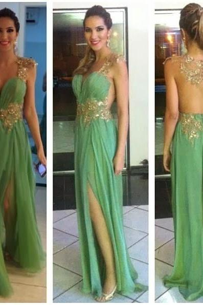 Sexy backless Custom Green prom dresses, Long Prom dresses, Backless Prom Dresses, Long Prom Dress, Backless Prom Dress, Sequin Prom Dress, Formal Dresses