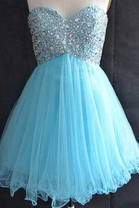 Sexy beads blue prom dress,tulle prom dresses short,real photo homecoming dresses,blue princess homecoming dresses,vestidos curtos formatura,short girl dresses,sequin prom dress,short prom dresses for teens