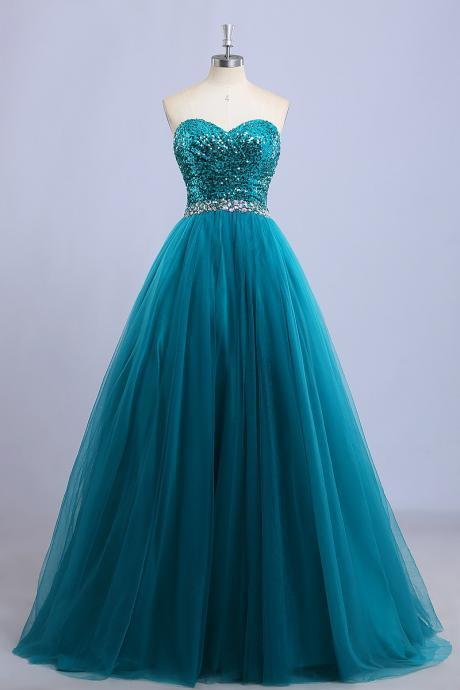 Teal Sequin Tulle Prom Dress with Sweetheart Neckline