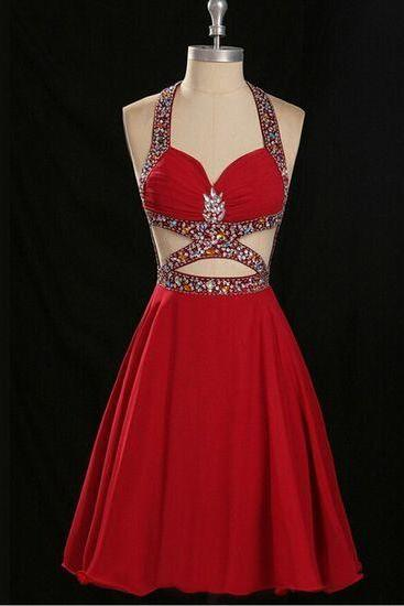 2016 Sexy Red Homecoming Dresses, Luxury beads Backless Prom Dresses, Halter Homecoming dresses, Sexy chiffon Homecoming Dresses, Beading Custom Prom Dresses, Prom Gowns Custom Made,Homecoming party Gowns,Custom Made Evening Dress,Vestido de Noiva, Wedding Guest Dress