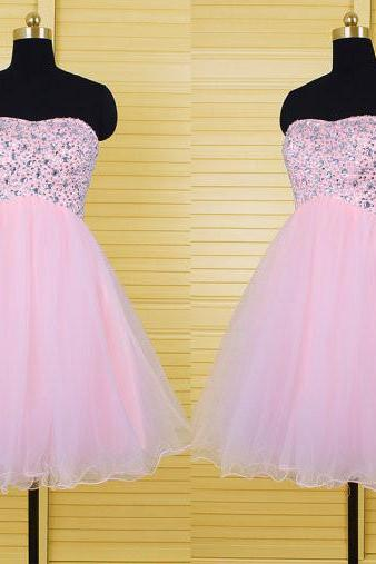 pink Homecoming Dress Short Party Dresses,tulle Homecoming Dresses,New Arrival beads Homecoming Dresses, Short Homecoming Dresses, Party Dresses, Graduation Dresses, Chiffon Homecoming Dresses, Dresses For Homecoming, Homecoming Dresses, Cheap Homecoming Dresses, Popular Homecoming Dresses,Homecoming party Gowns,Custom Made Evening Dress,Vestido de Noiva, Wedding Guest Dress