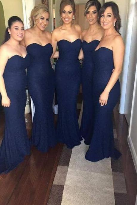 Navy Blue Bridesmaid Dress, Lace Bridesmaid Dress, Cheap Bridesmaid Dress, Mermaid Bridesmaid Dress, Long Bridesmaid Dress, Elegant Bridesmaid Dress, Simple Bridesmaid Dress, Cheap Bridesmaid Dress, 2016 Bridesmaid Dresses,Custom Made Evening Dress,Vestido de Noiva, Wedding Guest Dress