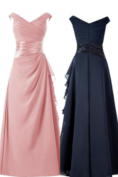 Sexy A-line Pink Long Chiffon Beading Prom Dresses,Evening Dresses,Evening Gowns,Mother Dresses,V-neck formal dresses,Wedding guests dresses