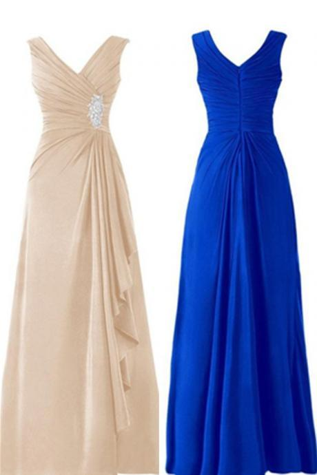 New sexy Simple V-neck Long Chiffon Elegant Prom Dresses,Handmade formal Gowns,Prom Mother Of The Bridal Dresses,Wedding guests dresses