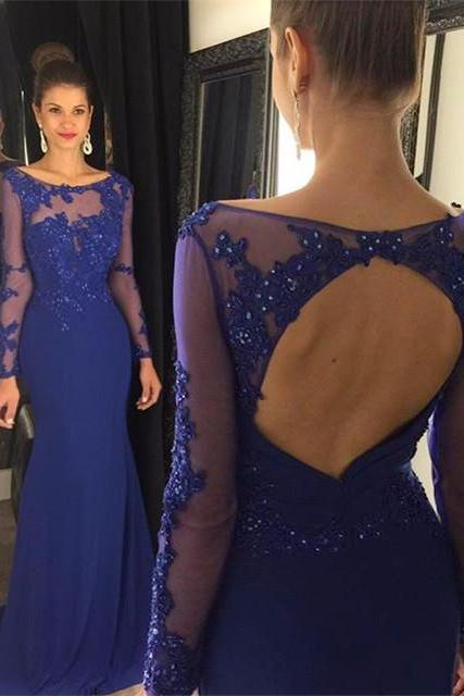 Long sleeve Prom Dress,blue Prom Dresses,sexy lace Long Prom Dresses,Royal Chiffon Prom Dresses,Mermaid Party Dresses,Long Sleeves Formal Gowns,Evening Dresses for Women,Prom Dresses 2016,Long Sleeves Prom Dresses,Open Back Prom Dresses, Bridesmaid Dresses, Bridesmaid Dresses,Prom Gowns,Beaded Cocktail Dresses, formal dresses,Wedding guests dresses