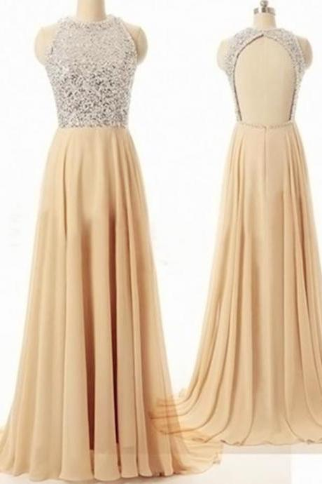 Luxury beads Sexy Chiffon Champagne A Line Prom Gowns, Sexy Backless Champagne Prom Dresses,A Line Prom Dresses 2016, Sexy Chiffon Prom Dresses , Floor-Length Prom Dresses,2016 Prom Dresses, Cocktail Dresses, formal dresses,Wedding guests dresses