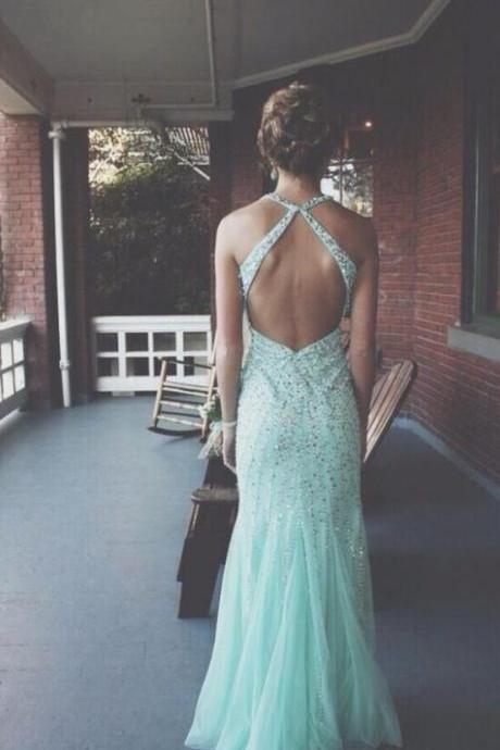 Luxury beads Custom Made A line Open Back Prom Dresses, Backless Prom Dresses, Formal Dresses, Open Back Evening Dresses,Formal Gowns Plus Size, Cocktail Dresses, formal dresses,Wedding guests dresses