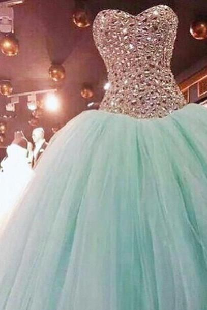Luxury beads wedding dresses,Custom Made Sweetheart Neck Long Pruffy Green Ball Gown,Mother Dresses,Bridesmaid Dresses,Formal Dresses,tulle prom dresses,Wedding Guest Dresses, Cocktail Dresses, formal dresses,Wedding guests dresses