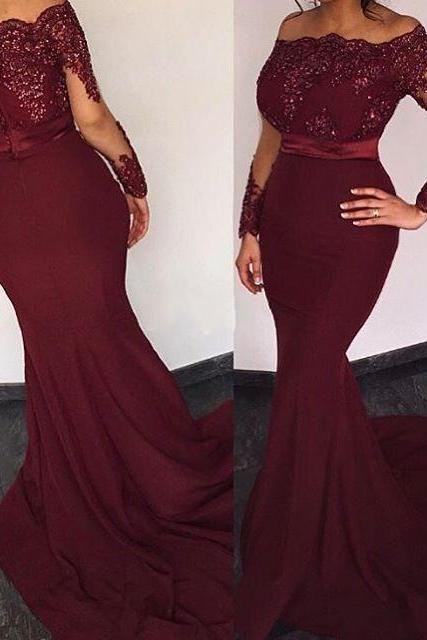 Burgundy Satin Long Sleeves Elie Saab Prom Dresses 2016 ,Off the shoulder Appliques Evening Dresses, Long Mermaid Party Dress,Long Sexy Prom Dresses,Long Sleeves Mermaid Formal Gowns, Prom Dress,Formal Gowns Plus Size, Cocktail Dresses, formal dresses,Wedding guests dresses