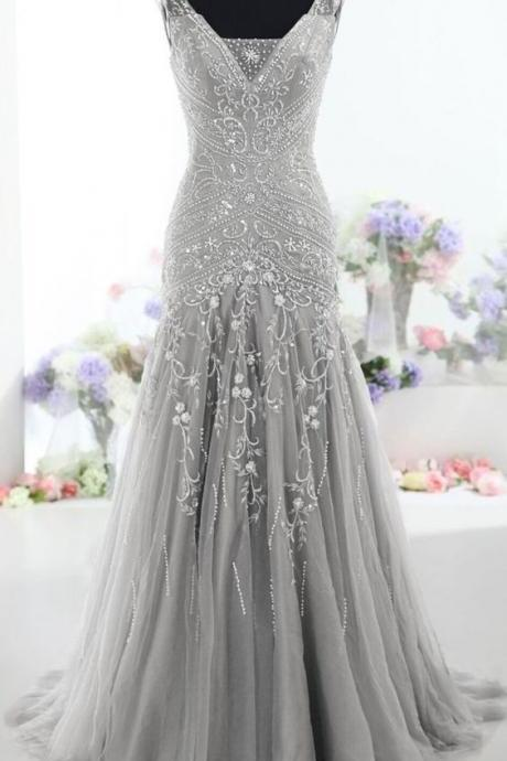 2017 Custom Made Pretty Gray Long Mermaid Beading Prom Dresses ,Charming V-Neck Evening Dresses,Party Prom Dresses ,Prom Dresses ,Formal Gowns Plus Size, Cocktail Dresses, formal dresses,Wedding guests dresses