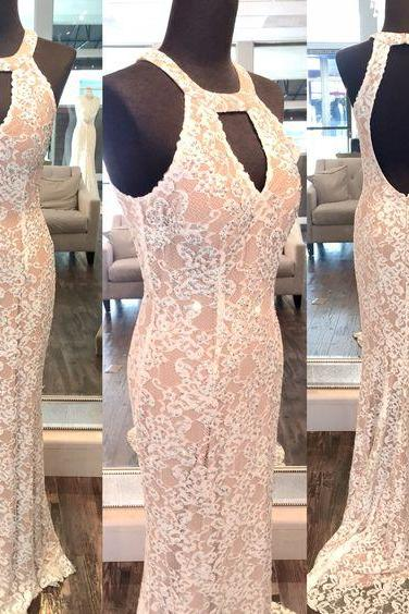 2017 Custom Made Charming lace Prom Dress, Sexy Halter Evening Dress, Pink Lace Prom Dress, Mermaid Formal Gowns, Prom Dress,Formal Gowns Plus Size, Cocktail Dresses, formal dresses,Wedding guests dresses
